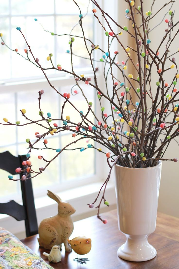 Crafty Sisters: Jelly Bean Tree: Easter Centerpieces, Beans Trees, Easter Crafts, Trees Branches, Hot Glue, Easter Trees, Glue Jelly, Jelly Beans, Adorable Easter