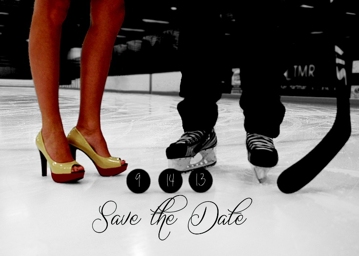 My hockey-themed wedding save the date! -- change her shoes to cowgirl boots and it'd be perfect!