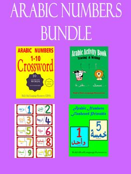 Download this Zip file and $AVE.This file includes PDF 63 pages:- Arabic numbers 1 to 10 (10 pages) reg price $1.50- Arabic Numbers Crosswords (4 pages) reg price $1.75- Arabic Preschool book Alphabets and numbers (42 pages) reg price $3.00- Arabic Self Correcting Puzzles (1 page) reg price $1.00- Arabic Numbers  Flash cards (6 pages) reg price $0.99