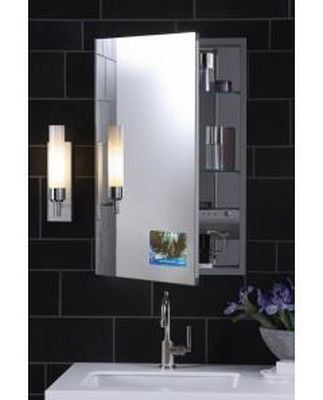 "Robern MP20D4FPRTV M Series 4""D Right Hinged Flat Plain Mirror Cabinet MP20D4FPRTV by Robern. $2828.70. 8"" LCD Television integrated in the door of mirrored cabinet Right-hinged cabinet with TViD in the front lower left corner Play MP3 Music players with included headphone-jack and auxiliary controls Electrical Shelf includes volume, auxiliary and power controls Television contained within mirrored cabinet door, allows for various viewing angles Off-set LCD televi..."
