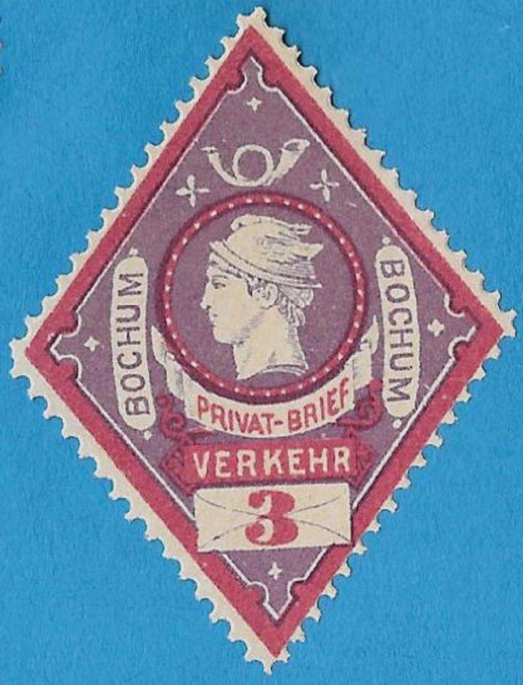 + 1887 Bochum Germany Mercury Hermes Post Horn Private Local Post 2pf MNH unused