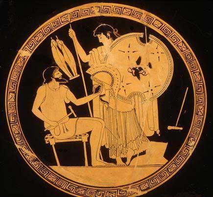 ***Tetis pide a Hefesto una nueva armadura para su hijo Aquiles. El herrero sostiene un martillo y casco, y Tetis sostiene en escudo y la lanza.