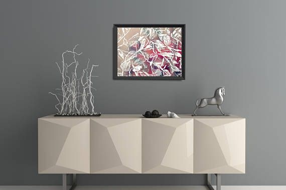 Modern botanical wall art with leaf motive. Beautiful organic shapes of leaves enhanced with frost crystals. This pink leaves poster is available in multiple sizes: 8 x 10 in, 12 x 16 in, 16 x 20 in, 18 x 24 in, 24 x 36 in. Large Pink Wall Art . +++ #moderninterior #modernliving #artprint #modernposter #kacixart