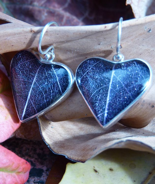 Silver Blue Heart Skeleton Leaf Earrings   Uniquely fabulous