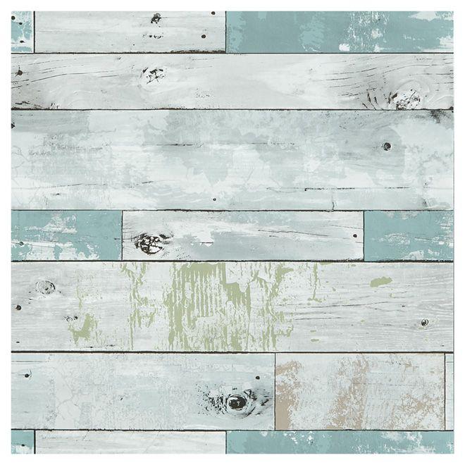 """Papier peint bois de bord de plage, 20,5"""" x 18', bleu/vert"""