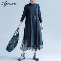 Azouari Осенью и зимой большой размер женщин одежда высокого воротника длинный участок двойной слой кружева кашемир абразивные платье