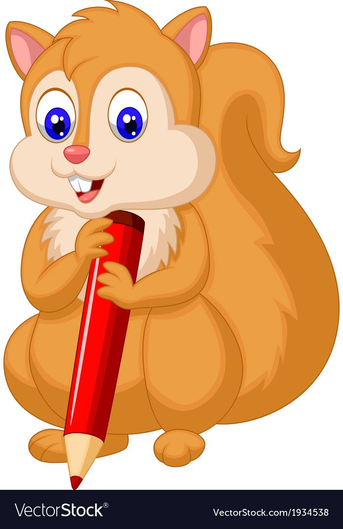 Vector Illustration Of Cute Squirrel Cartoon Holding Pencil Download A Free Preview Or High Quality Adobe Illustr Kids Nursery Art Cartoon Disney Art Drawings