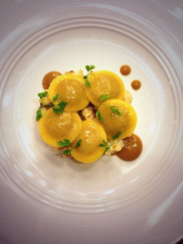 Roasted cauliflower ravioli. Golden raisin, chervil, pecorino syrup. R&D @nichestlouis 9.30.13