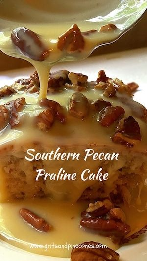 Southern Pecan Praline Cake is about as southern as you can get.  If you like pecans and pralines you will love this easy to make, decadent and delicious cake.  via @gritspinecones