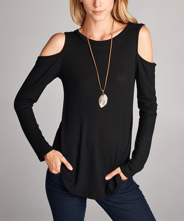 Another great find on #zulily! Black Thermal Cold Shoulder Top #zulilyfinds