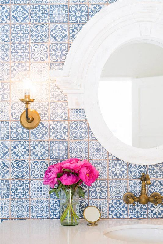 blue patterned bathroom tile