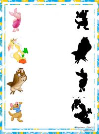 educational game find a shadow, whose shadow with Disney characters Winnie the Pooh