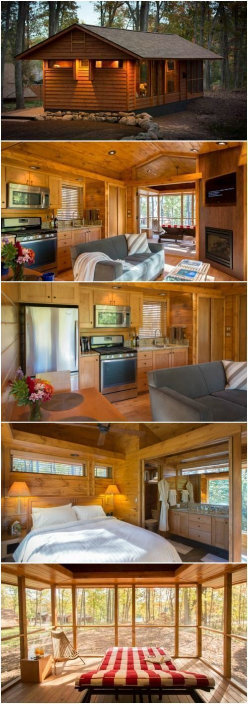 Spacious Rustic Living by Escape Homes in Under 400 Beautiful Square Feet! - Escape Homes in Wisconsin has designed a tiny house floor plan inspired by renowned designer Frank Lloyd Wright and it's spectacular! The single-level home measures 28'x14' is under 400 feet and is built on a wheeled chassis so it can be transported on a semi-truck (but not on your own since it's over 14' wide). #Buildyourownshed #tinyhomeonwheelsfloorplans #inyhomefloorplansonwheels