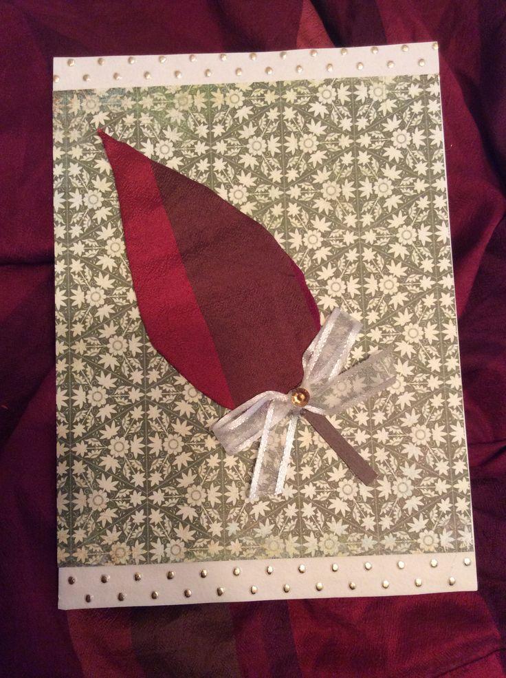 Carte de souhaits ; papier, tissu recyclé