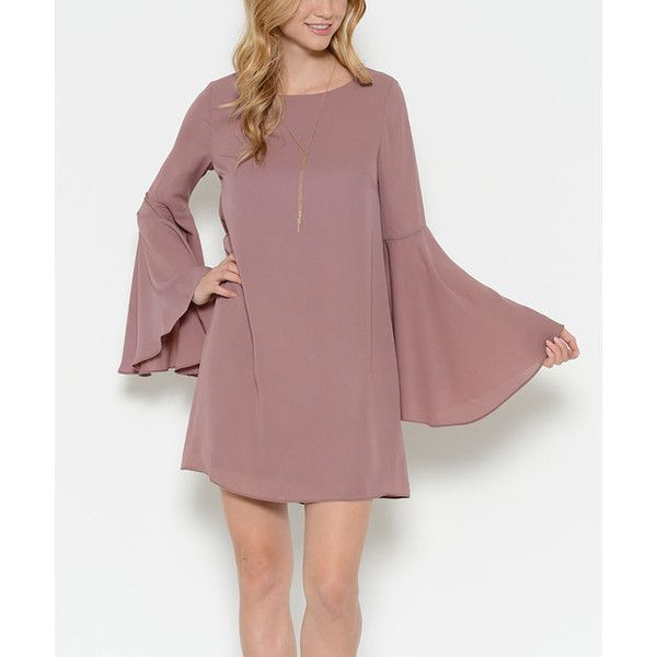 Sole Mio Dark Mauve Bell-Sleeve Shift Dress ($25) ❤ liked on Polyvore featuring dresses, shift dresses, woven dress, red dress, mauve dress and long length dresses