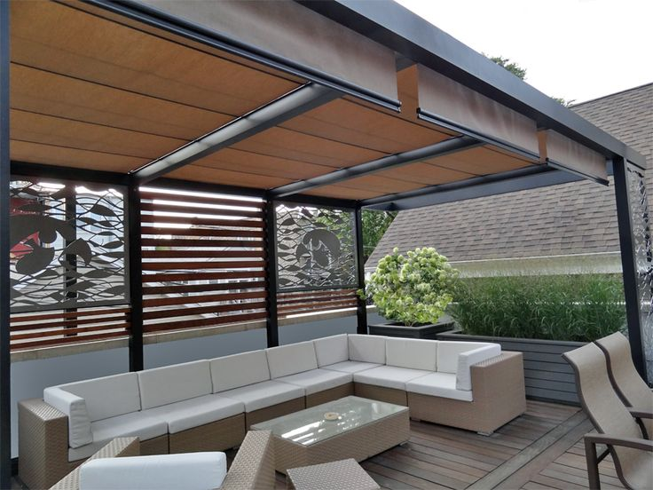 Roof deck pergola retractable urban landscape garden - Pergola alu toile retractable ...