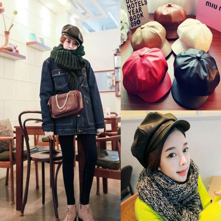 Fashion Trend Womens Retro Peak Cap Beret Caps Octagonal Faux Leather Hat
