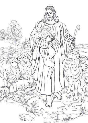 Jesus é o Bom Pastor Página para colorir