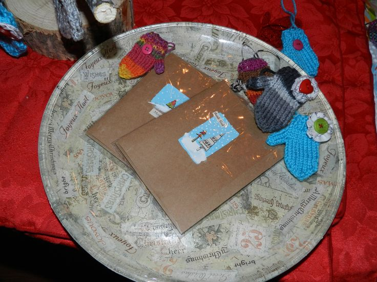Getting ready for holiday craft shows! Here's a collaged glass platter ready for serving! By M. Hebert