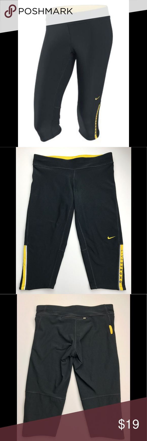 """Nike Livestrong Filament Capri Nike Livestrong Capri size small. Has a drawstring on the inside of waistband and a zipper pocket on the back. There is a very small snag under the Nike swoosh. You can see it in the photo I posted. It is not noticeable unless you are really close. I have priced accordingly. Inseam 16"""". Waist 27"""". Nike Pants Track Pants & Joggers"""