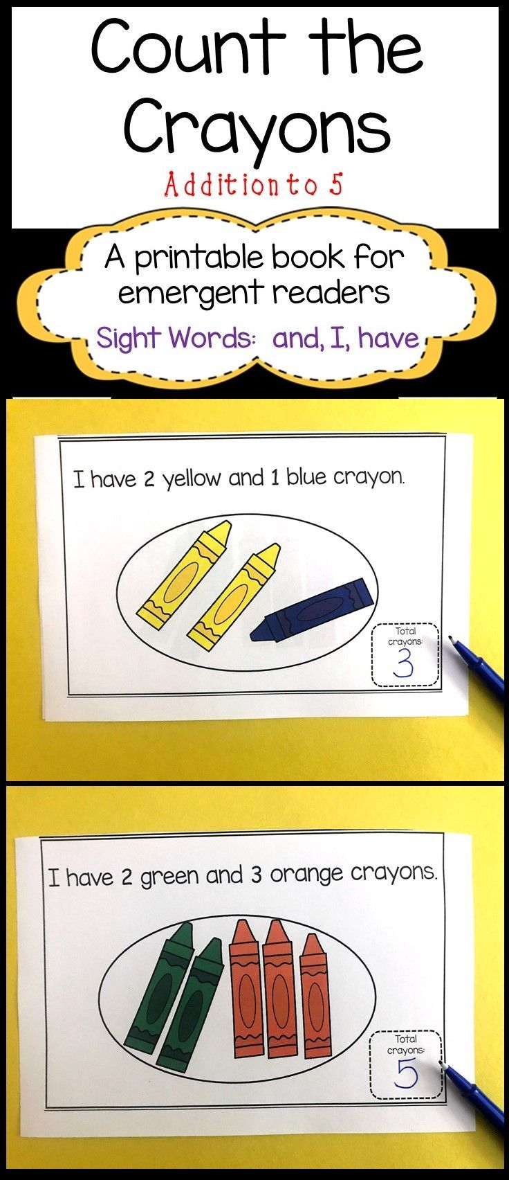 Count the Crayons   Addition to 5   Decodable Book   Math   Sight Word Reader   Interactive Book    Kindergarten   First Grade Back to School