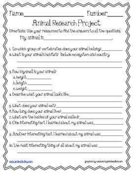 Animal Research Project: Instead of doing a test at the end of the unit the students could do this project. Could also be used as a general assignment to record progression.