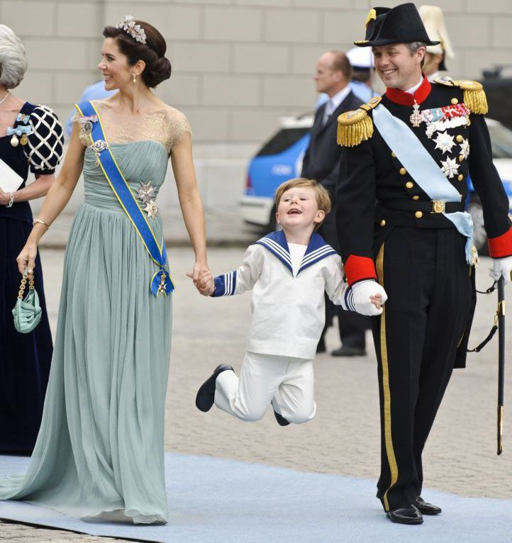 Crown Princess Mary, Prince Christian, and Crown Prince Frederik of Denmark at the Wedding of Crown Princess Victoria of Sweden to Daniel Westling.