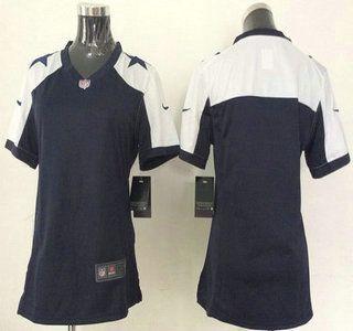 Nike Dallas Cowboys Jersey Blank Blue Thanksgiving Game Womens Jerseys