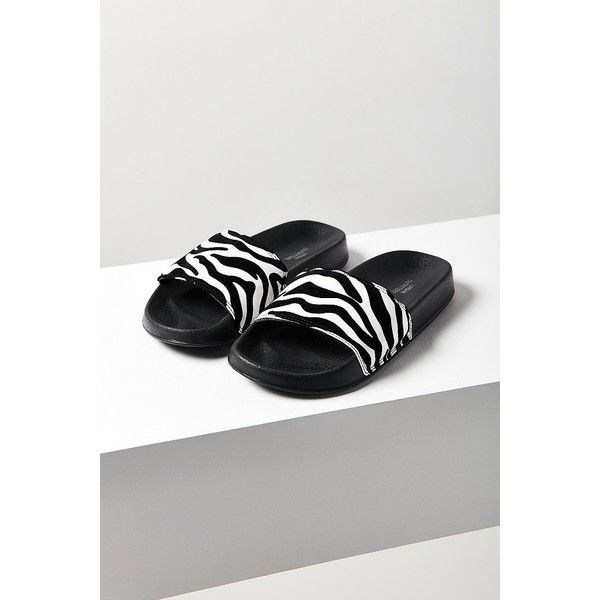 Zebra Print Pool Slide ($15) ❤ liked on Polyvore featuring shoes, urban outfitters shoes, zebra shoes, zebra print shoes, urban outfitters and cushioned shoes