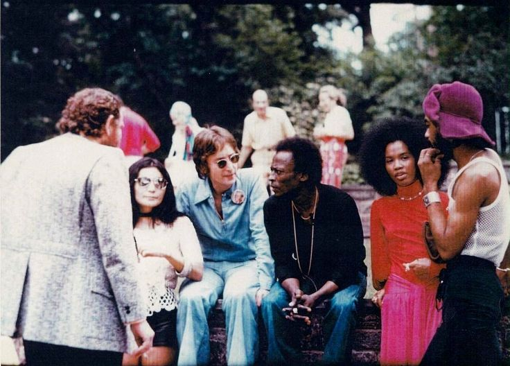 John Lennon meeting Miles Davis during a Garden Party on June 12, 1971 at Allen Klein's house. I am not sure what Davis and Lennon talked about, but video footage shows that they played a little game of one-on-one basketball (and neither of them were...