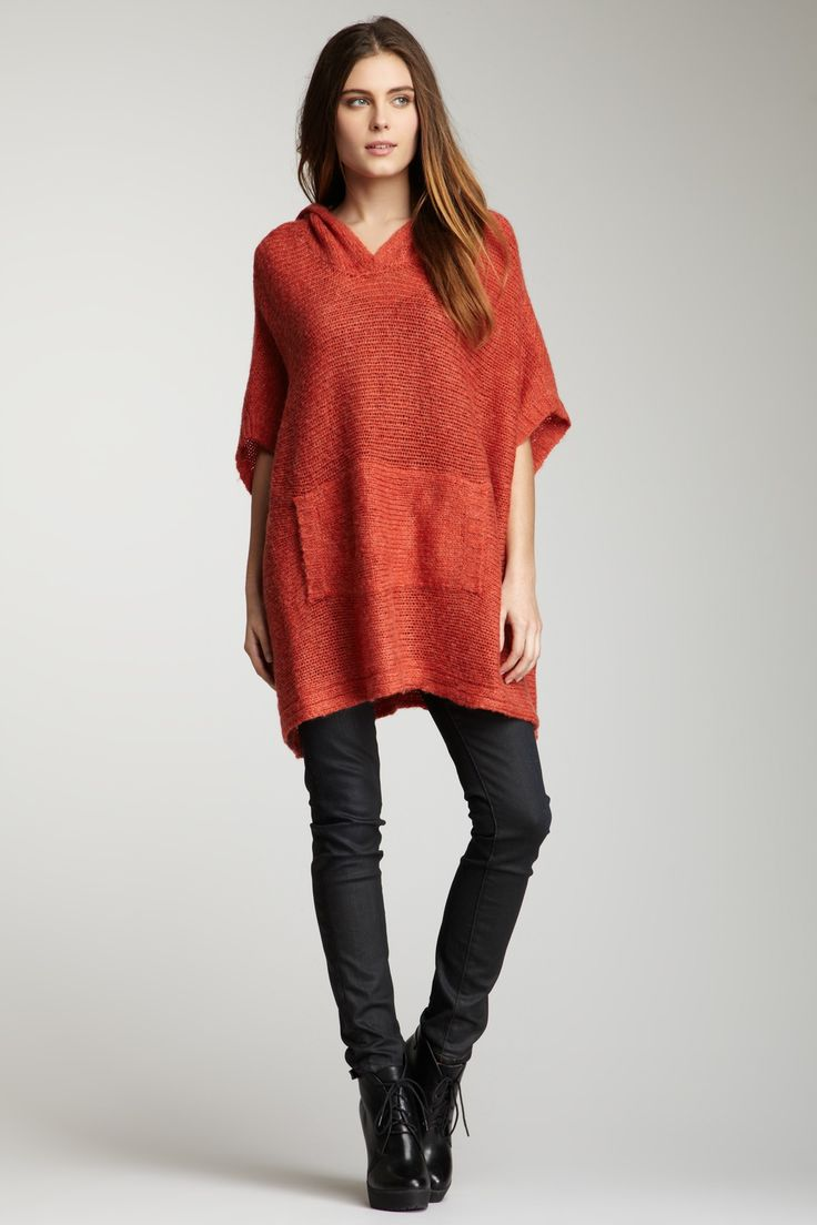 Hooded Knit Sweater Tunic