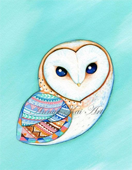 Barn Owl  Teal Mint Aquamarine and Tribal Pattern  by AnnyaKaiArt, $18.00
