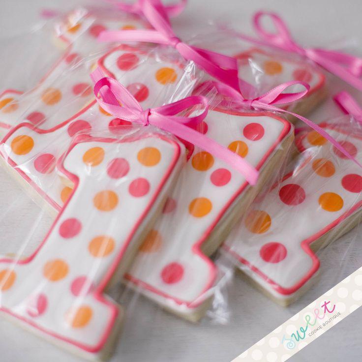 Polka Dot Number One Cookies  //  One Dozen Sugar Cookies. $33.00, via Etsy.