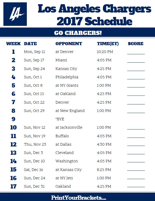 2017 Los Angeles Chargers Football Schedule