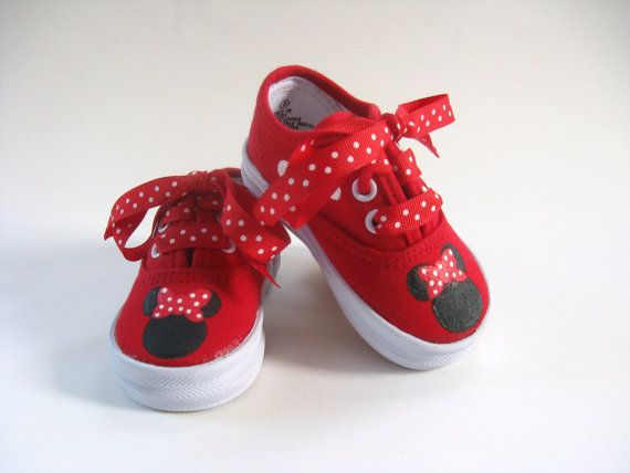 kids minnie shoes   Girls Minnie Mouse Shoes, Baby and Toddler, Hand Painted, Red, Cotton ...