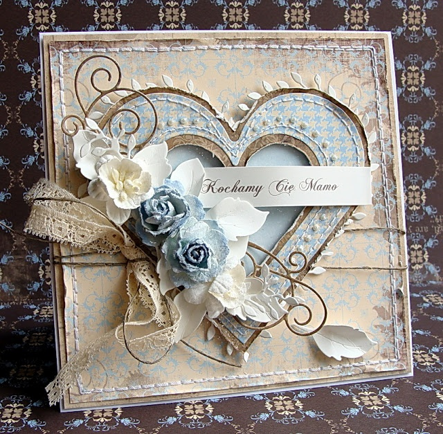 Card Making Ideas For 25th Anniversary Part - 18: Card With Heart Heart Vintage Shabby Chic Roses Leaves Ribbon Bow  Scrollwork Flourishes DIY Card Heart Card, Love Card, Anniversary Card,  Wedding Card, ...
