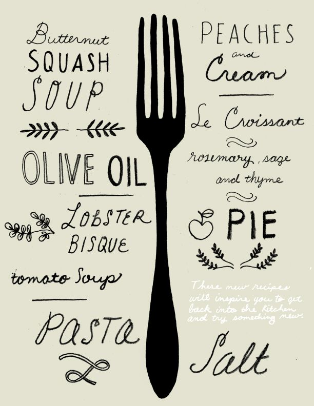 Food and type, two of our favorite things! Illustration by Chris Silas Neal.: Menu Design, Please Neal, Hands Types, Hands Drawn Types, Food Typography, Kitchens Prints, Chris,  Please, Kitchens Wall Art, Wedding Menu