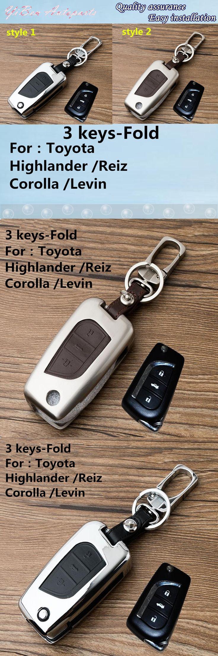 For T0Y0TA Highlander Reiz Corolla Levin Mark-X car leather+Zinc alloy Metal keys bag case key chain Wallet fold lamp 1pcs