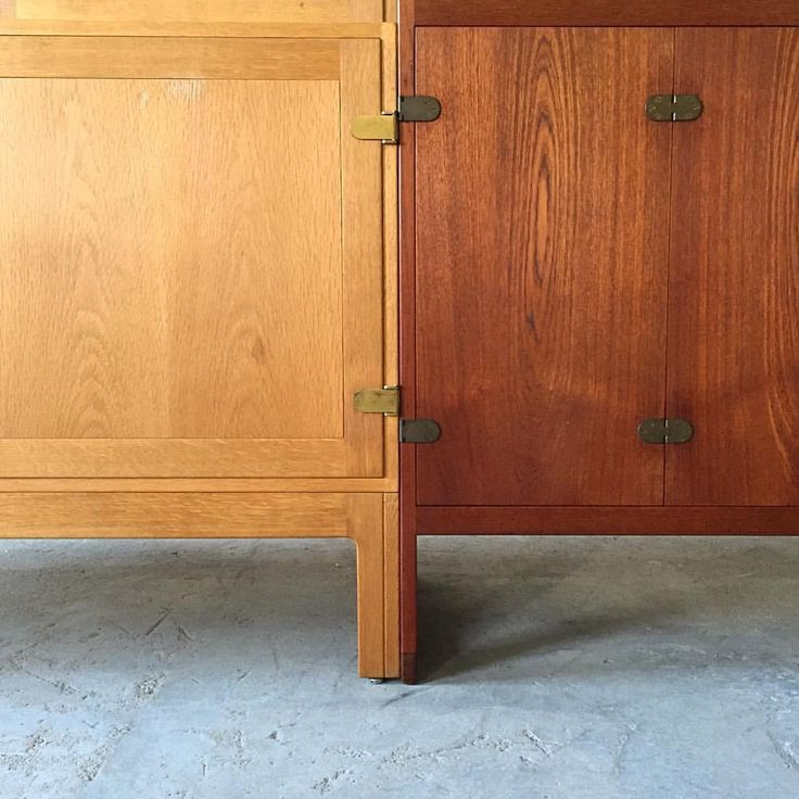 """""""Two cabinets, different materials, one designer, one manufacturer. Børge Mogensen oak cabinet with bookcase and teak sideboard for P. Lauritsen & Søn.…"""", Danmark"""