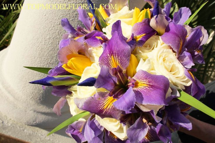 Purple Iris Bridal Bouquet with white roses and yellow tulips