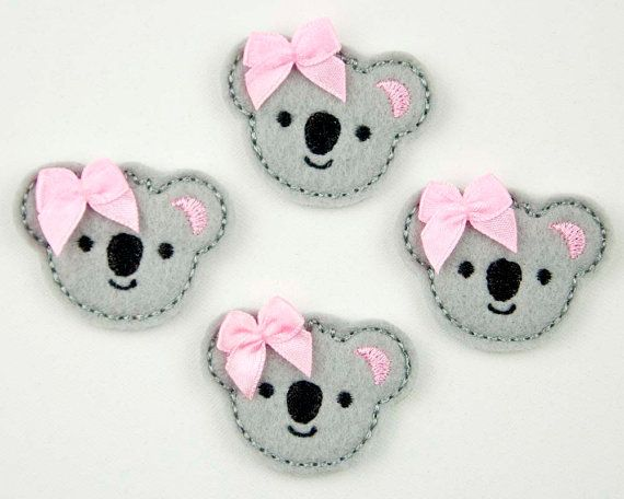 KOALA - Embroidered Felt Embellishments / Appliques - Gray  (Qnty of 4) SCF6135. $4.60, via Etsy.