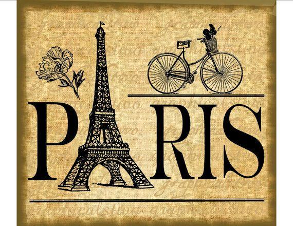 Paris Eiffel Tower Bicycle Printable Image Digital