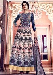 Multi Colour Sarteen Print Heavy Embroidered Work Anarkali Suit