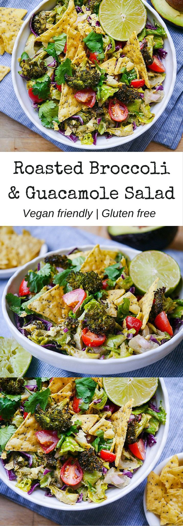 Roasted Broccoli & Guacamole Salad | When you want a huge bowl of guacamole and chips but probably need some healthy greens too - have both! Gluten free and vegan friendly. Delicious! | nourisheveryday.com