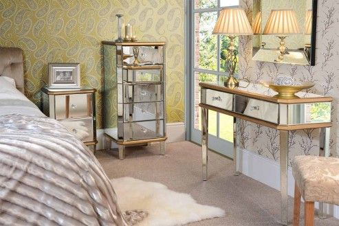 Luxury Mirrored Dressing Console table and 2 x Bedside tables -Versailles range