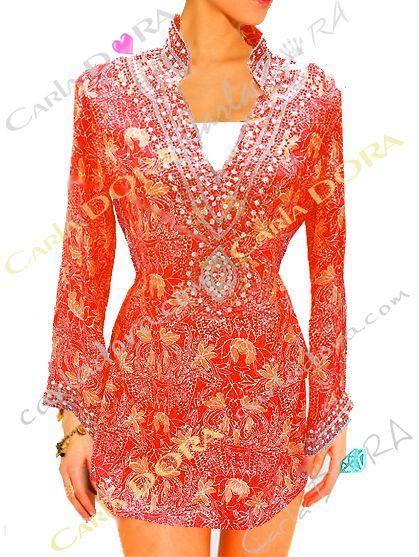 tunique indienne corail en soie col v broderie perles, tunique fashion top femme fashion a la mode