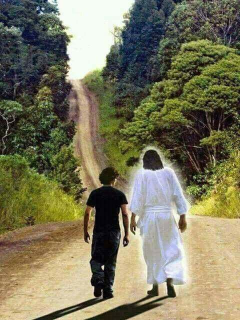 Image result for picture of Jesus walking with me