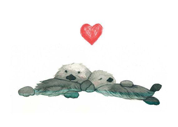 Nutrias del mar cogidos de la mano - amor - amistad - Original ilustración impresión