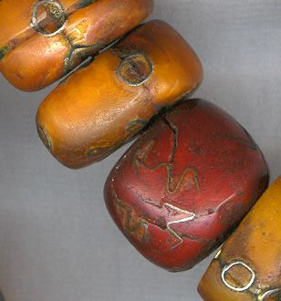 Africa Mali Amber Beads 19th Century possibly copal, showing careful and decorative repair