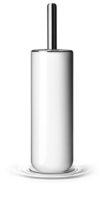 Brosse wc acier, plastique blanc
